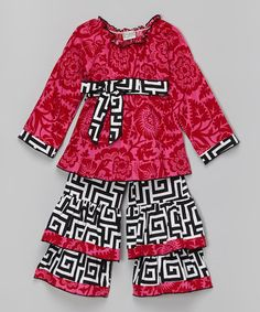 Loving this Pink & Black Geo Ruffle Top & Pants - Infant, Toddler & Girls on #zulily! #zulilyfinds