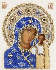 Hand Painted Icon of the Mother of God of Kazan in an oklad - The Workshop of St Elisabeth Convent - Jesus Mother, Blessed Mother, Wedding Icon, Prayer Corner, Paint Icon, Painting Studio, Using Acrylic Paint, Madonna And Child, Jesus Christ