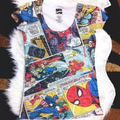 Marvel Comics Superhero Tee New marvel superhero burnout tee with Thor/ Spider-Man / Captain America and more w/all white back. Size medium. Brand new. marvel Tops