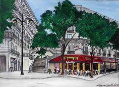 Tableau du café la Butte Montmartre par Dagmar Gerlach - Dessine moi Paris