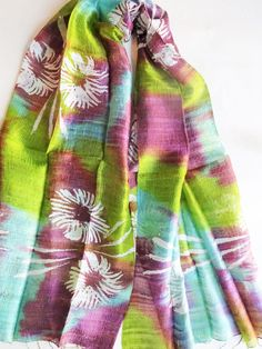 Silk shawl-Handwoven-Hand dyed-Batik silk by PlanetEarthHandmade