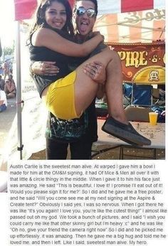 This is why I love Austin Carlile <3 he is just amazing and loving and cares about his fand