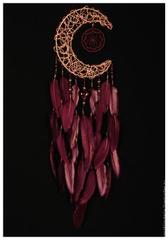 Купить Bordeaux Dream Catcher Moon Dreamcatcher burgundy - ловец, ловец сновидений, ловец снов