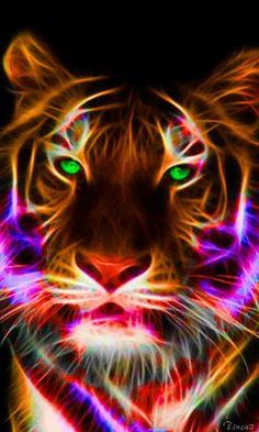 Colorized Fractalius tiger: neon tiger