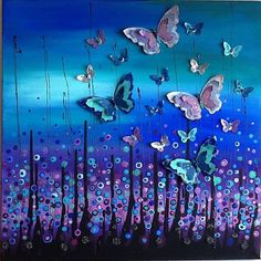Made by Julie Ryder, stunning midnight blue and black mixed media canvas art with butterflies