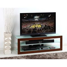 """Techni Mobili RTA-7732-GLS Frosted Glass and Mahogany 65"""" TV Stand"""