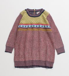 KARINE カラフル編みジャカードZIP付きチュニック