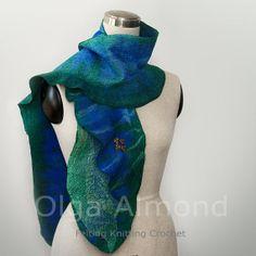 ScarfFelted scarfNuno Felted Scarf Hand dyed Silk by OlgaAlmond