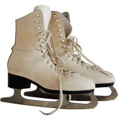 White Ice Skating Boots (Eur 37, UK 4, US 6) - Bows & Bandits -... ❤ liked on Polyvore featuring shoes, boots, fillers, skates and accessories