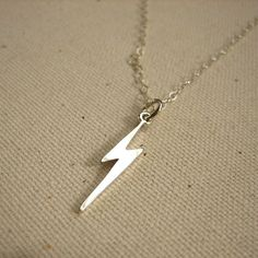 Sterling Silver Lightning Bolt Necklace - Simple Everyday Jewelry. $26.00, via Etsy.