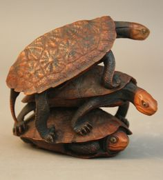 A Japanese carved boxwood group of turtles (Japan)