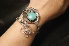 turquoise cuff bracelet silver turquoise bracelet by BeyhanAkman