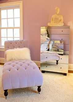 Perfection!! Lavender tufted chaise + fur pillow + mirrored dresser. LOVE Glam ♥