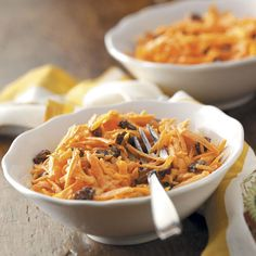 Carrot Raisin Salad Recipe -This colorful traditional salad is one of my mother-in-law's favorites. It's fun to eat because of its crunchy texture, and the raisins give a slightly sweet flavor. Plus, it's easy to prepare. —Denise Baumert, Dalhart, Texas