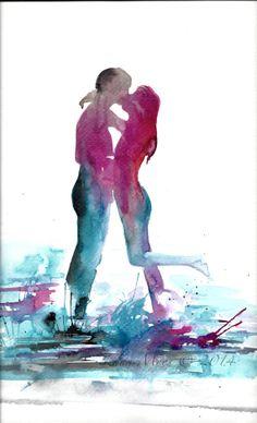 Love Kiss Romance Watercolor Original Illustration - Travel Sunset California Dream Watercolor Painting