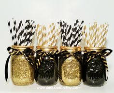 Mason Jar Centerpieces, Wedding Centerpieces, Graduation Party Decorations, Black and Gold Decor, Birthday Party, Wedding Decor, Set of 4 by LimeAndCo on Etsy https://www.etsy.com/listing/232938867/mason-jar-centerpieces-wedding