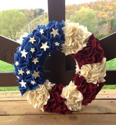 American Flag Patriotic  Wreath with by HandmadeByAHousewife, $40.00