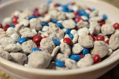 4th of july snacks. patriotic puppy chow.