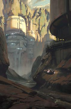 new Ideas for sci fi concept art environment star wars Fantasy Places, Sci Fi Fantasy, Fantasy World, Arte Sci Fi, Sci Fi Environment, Environment Design, Futuristic City, Futuristic Architecture, Sci Fi Stadt