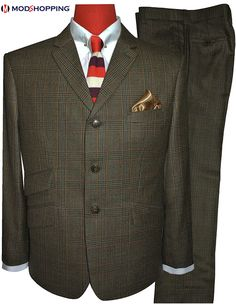 mens tweed suit,prince of wales check suit for men, brown check suit for mof fashion tailored 3 button slim fit mod clothing mod suit ,modshopping custom suit, Mens Tweed Suit, Tweed Suits, Grey Colour Suit, Color, 60s Mod Fashion, Mod Suits, Checked Suit, Brown Suits, Suit Fabric