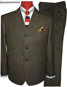 Mens Tweed Suit, Tweed Suits, Grey Colour Suit, Color, 60s Mod Fashion, Mod Suits, Checked Suit, Brown Suits, Suit Fabric