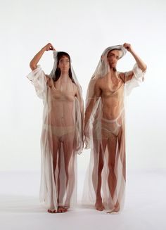 """Imme van der Haak - Beyond the Body (2012)   Artist's statement: """"My work focuses on altering the human form by affecting its figure with just one simple intervention. Photos of the human body are printed onto translucent silk which will create the possibility of physically layering different bodies, ages, generations and identities..."""""""
