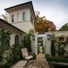 BRW Architects Charlottesville VA...Contemporary Mediterranean style house .  Plunge pool courtyard sited in front of house.