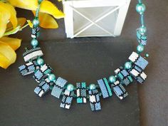 Carrier Bead Necklace - Mondrian Inspired - Turquoise - Blue - Holiday - Gift for Her - Gift for Women - For Yourself Beaded Bracelet Patterns, Beading Patterns, Beaded Necklace, Beaded Bracelets, Beaded Jewelry Designs, Handmade Beaded Jewelry, Handcrafted Jewelry, Gifts For Women, Gifts For Her