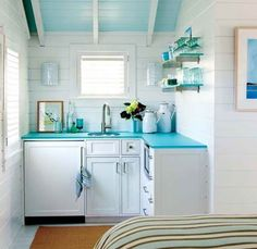 Cute kitchenette for small space. something like this in the casita? via House of Turquoise - Model Home Interior Design House Of Turquoise, Turquoise Kitchen, Aqua Kitchen, Turquoise Cottage, Tropical Kitchen, Glass Kitchen, Mini Kitchen, Little Kitchen, Kitchen Small