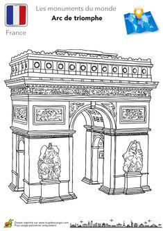 L'Arc du Triomphe en France à colorier.