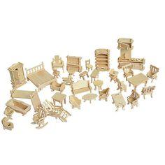 34 Unids/set 1:12 Dollhouse Miniatura Muebles de Muñecas, Mini 3D Rompecabezas De Madera DIY Modelo de Construcción de Juguetes para Niños de Regalo