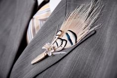 Feather Boutonniere  Choose your Design  Made to by louloubell, $16.00