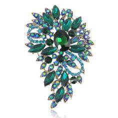 EVER FAITH® Cristal Autrichien Bouquet de Fleurs Poire Broche Pin Bleu Ton d'Or A02600-51
