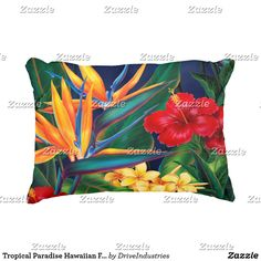 Shop Tropical Paradise Hawaiian Floral Accent Pillow created by DriveIndustries. Floral Pillows, Decorative Pillows, Adirondack Chair Plans, Most Beautiful Flowers, Tropical Paradise, Accent Pillows, Hibiscus, Flower Designs, Hawaiian