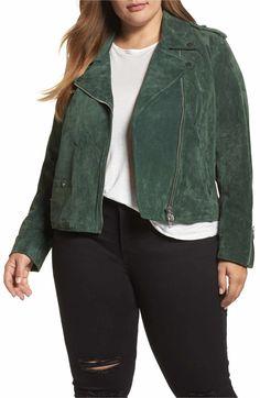 eea59f1336a Main Image - REBEL WILSON X ANGELS Suede Moto Jacket (Plus Size) Suede Moto