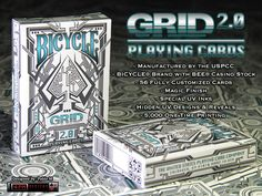 Grid 2.0: The follow up deck to THE GRID by 4PM DESIGNS. 56 fully custom cards, printed by the USPCC on Bee paper stock with UV INK.