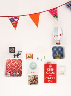 make those display shelf in wood (not just in white), cover the background with wallpaper/fabric/gift wrap paper etc (découpage)