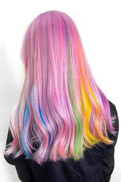 """*Shows hairstylist picture of unicorn 🦄* Stylist, """"Say no more"""" 🌈 @haircolormagic used a Virgin Pink+Frose mix, Cosmic Sunshine, Poseidon, Violet Dream, and Iris Green for this dreamy blend ☁️💕 Unicorn Pictures, Pictures Of Unicorns, Arctic Fox Hair Dye, Semi Permanent Hair Dye, How To Lighten Hair, Color Melting, Bright Hair, Light Brown Hair, Free Hair"""