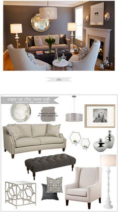 I love the wall color....  Pinner wrote: Copy Cat Chic Room Redo | Glamorous Grey Living Room | Get the look for only $3,259