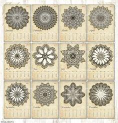 Vintage Mandalas Digital Cards ACEO ATC Tag Label 2017 Monthly Calendar Pdf & Jpeg, Printable Kaleidoscopes Rosettes Grunge Shabby (C015-17) by collageva on Etsy