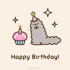 Pusheen Happy Birthday, Cat Birthday, Birthday Animals, Pusheen Love, Pusheen Cat, Pusheen Stormy, Nyan Cat, Birthday Images, Cat Love