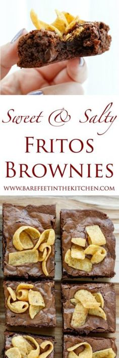 Chewy chocolate brownies are filled with plenty of gooey chocolate chips and topped with crunchy salty Fritos. The combination of flavors is irresistible! The idea for these Sweet and Salty Fritos Brownies...