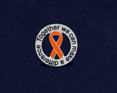 Orange Ribbon Difference Pins Wholesale, Bulk Leukemia Lapel Pins