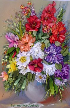 Picture Floristic composition Silk by SilkRibbonembroidery, €100.00