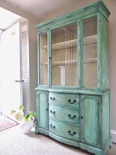 SOLD - Vintage Hand Painted Cottage Chic Shabby Distressed Turquoise / Aqua China Hutch / Display Cabinet / Glass Cabinet by Divonsir Borges Refurbished Furniture, Repurposed Furniture, Shabby Chic Furniture, Furniture Makeover, Vintage Furniture, Painted Furniture, Refurbished Hutch, Hutch Furniture, Painted Hutch