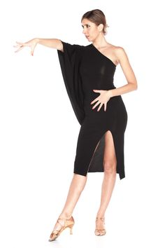 This one-shoulder dress is an excellent choice for your next dance event. Showcase your leg with a sexy front split. Top quality crepe fabric is stretchable, brings a comfortable fitting to skin and freedom to dance motion. Model is wearing size XS/S. Latin Dance Dresses, Ballroom Dance Dresses, Ballroom Dancing, Dance Outfits, Sexy Outfits, Ballet Clothes, Tango Dress, Belly Dance Costumes, Dance Fashion