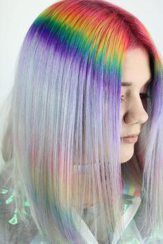 Prism Roots: the Dreamiest Hair Color Combination You've Ever Seen Hidden Rainbow Hair, Gents Hair Style, Waist Length Hair, Hair Styler, Pastel Hair, Hair Videos, Gorgeous Hair, Hair Lengths, Hair Trends