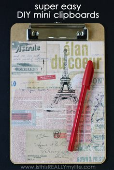 super easy DIY mini clipboards -- these babies take very little time and effort yet are totally adorable. Great for kids' chore charts, signup sheets, task lists...you name it! | isthisREALLYmylife.com #DIY #craft #clipboard #ModPodge