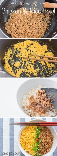 Soboro Don (そぼろ丼) is a simple Japanese rice bowl with sweet and savory ground chicken and scrambled egg.