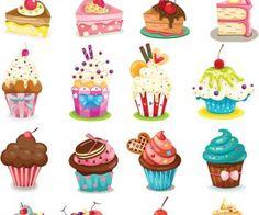 Cartoon cupcakes vector